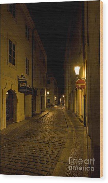 Steet In Prague Wood Print