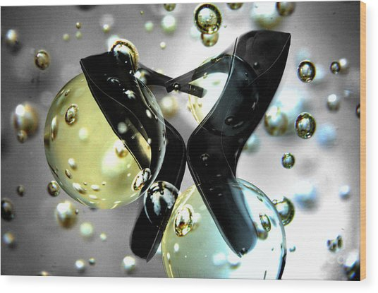 Stilettos Night Out Party Shoes Wood Print