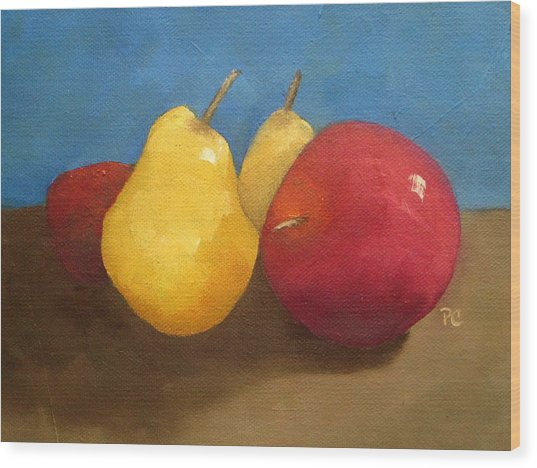 Still Life Apples And Pears Wood Print