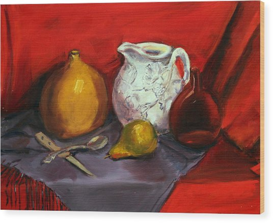 Still Life In Red Wood Print