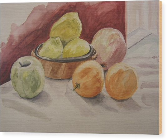 Still Life With Fruits Wood Print by Kate Partali