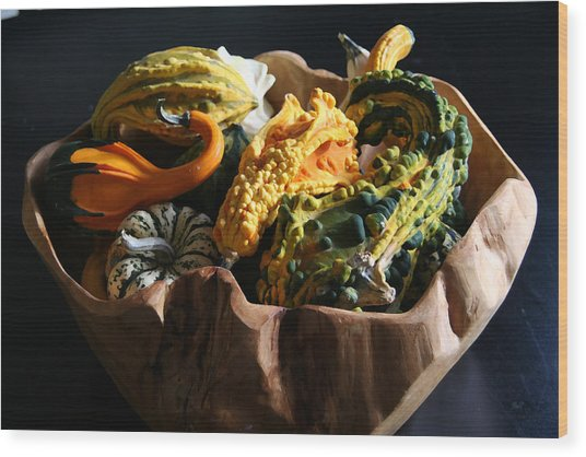 Still Life With Gourds Wood Print