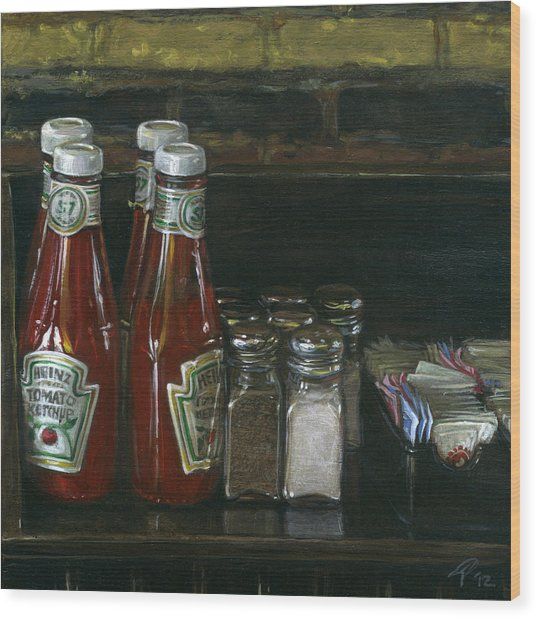 Still Life With Ketchup Wood Print by Ted Papoulas