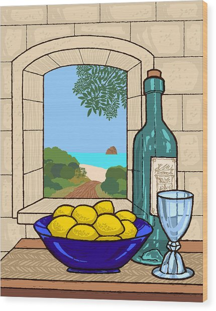 Still Life With Lemons Wood Print