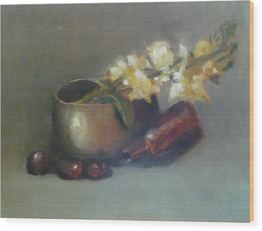 Still Life With Om Bowl Grapes And White Flowers Wood Print