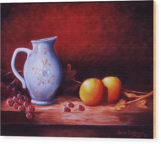 Still Life With Oranges  Wood Print