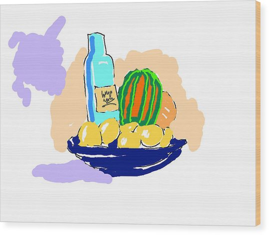 Still Life With Purple Cloud Wood Print
