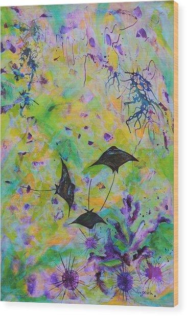 Stingrays And Coral Wood Print