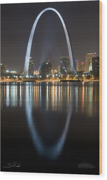 St.louis Arch Reflection Wood Print