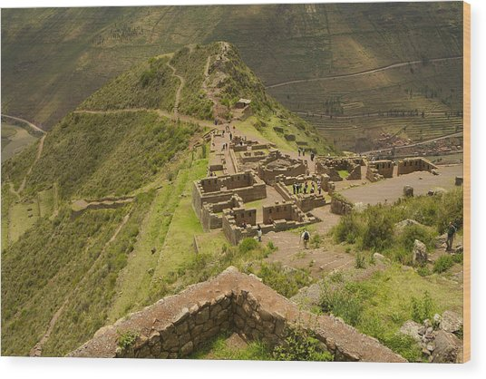 Stone Ruins At Pisac National Park,sacred Valley Of The Incas Wood Print by Ralph Hopkins