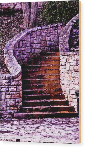 Stone Staircase Wood Print