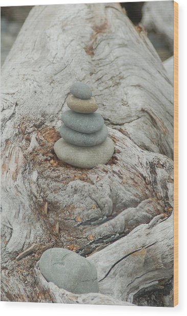 Stone Tower On Beach Log Wood Print