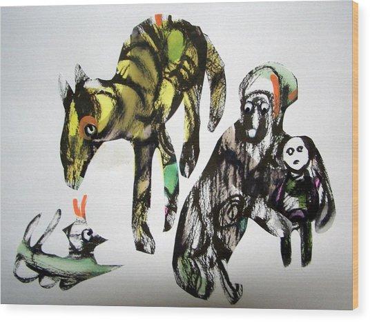 Stop Doggin' Around Wood Print by Aquira Kusume