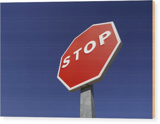 'stop' Road Sign Wood Print by Martin Ruegner