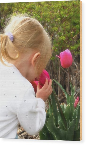 Stop To Smell The Flowers Wood Print