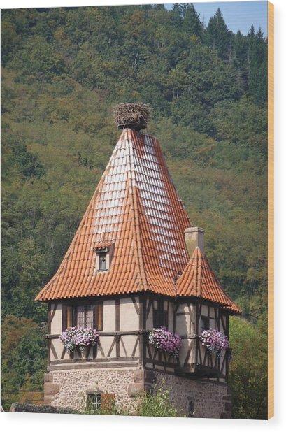 Stork Nest In Alsace France Wood Print by Christopher Mullard