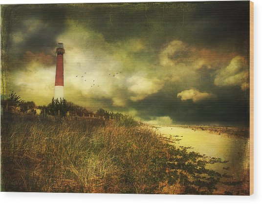 Storm At Barnegat Lighthouse Wood Print