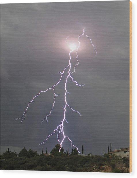 Storm Bolt Wood Print