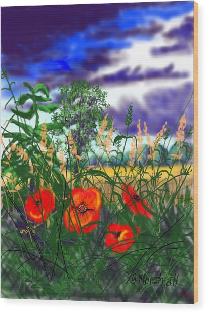 Storm Clouds And Poppies Wood Print