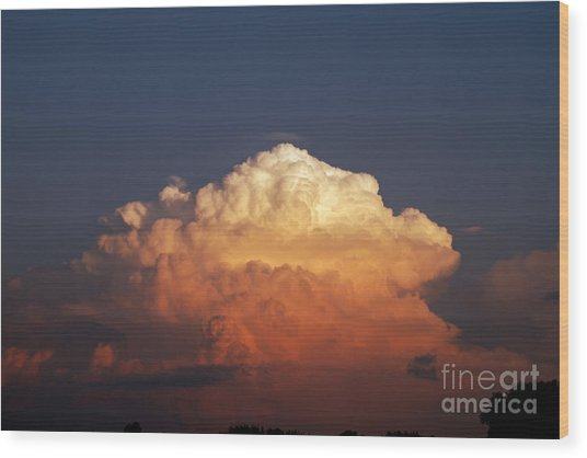 Storm Clouds At Sunset Wood Print