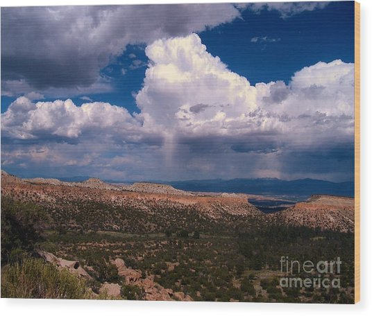 Storm Clouds Over Bandalier National Monument Wood Print by Donna Parlow