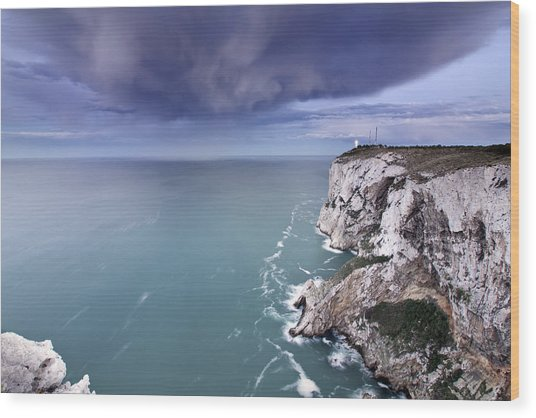 Storm Over Sea Wood Print by Paco Costa