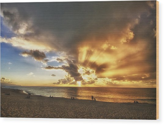 Storm Over Sunset Beach Hawaii Wood Print by Verity Milligan