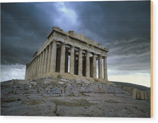 Storm Over The Parthenon Wood Print