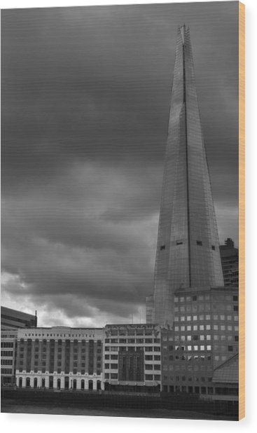 Storm Over The Shard Wood Print by Kevin Bates