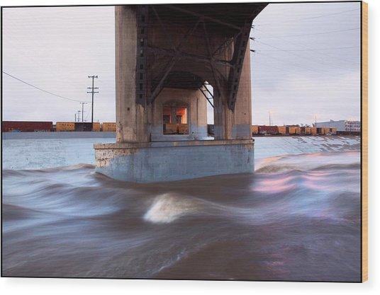 Storm Water Under The Sixth Street Bridge In La Wood Print by Kevin  Break