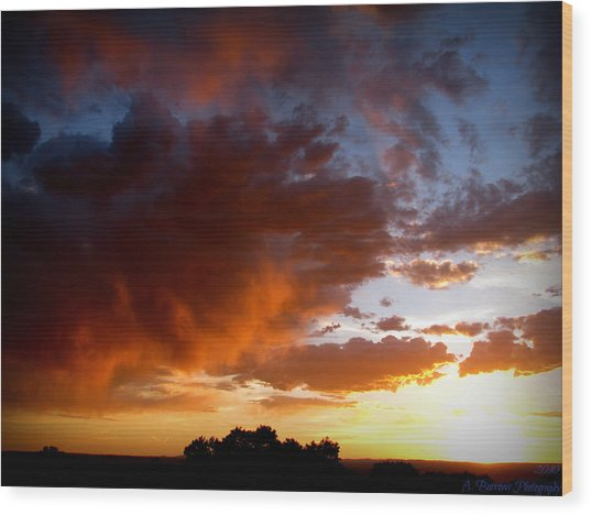 Stormy Sunset Over A Tree Canopy Wood Print by Aaron Burrows