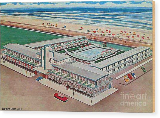 Strand Motel And Restaurant In Atlantic City N J 1950's Wood Print by Dwight Goss