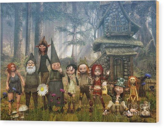 Strange Family Wood Print