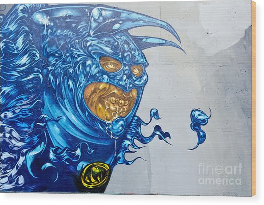Strange Graffiti Creature Wood Print