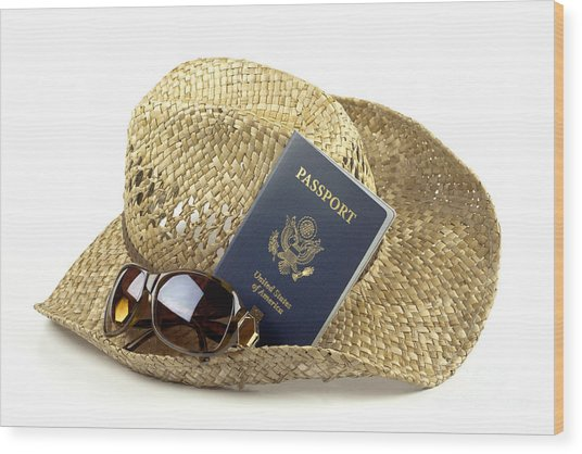 Straw Hat With Glasses And Passport Wood Print by Blink Images