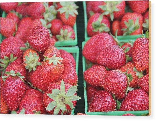Strawberries Wood Print by Kim French