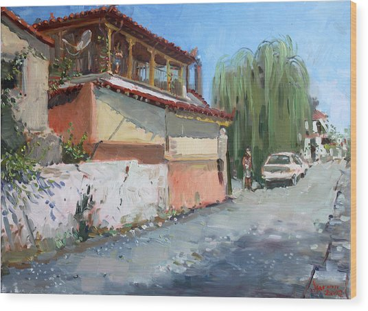 Street In A Greek Village Wood Print