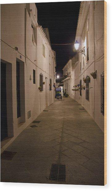 Street In A White Village Wood Print by Perry Van Munster