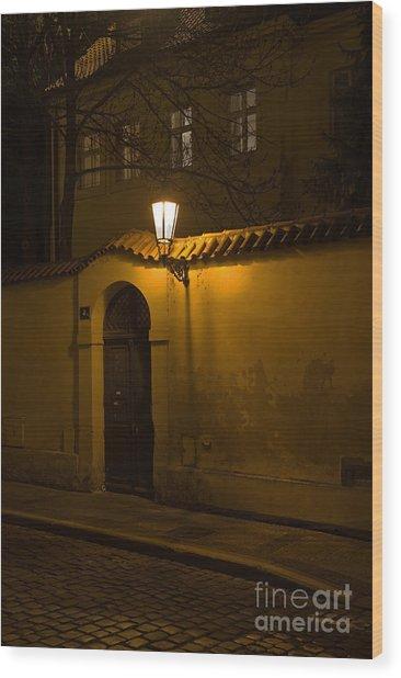 Street In Prague By Night Wood Print
