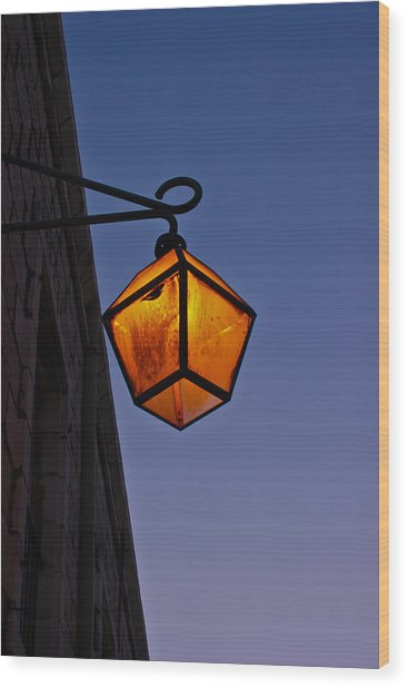 Street Light Wood Print by Amr Miqdadi