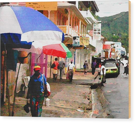 Street Scene In Rosea Dominica Filtered Wood Print
