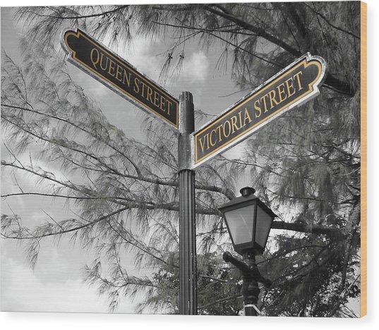 Street Signs On Grand Turk Wood Print