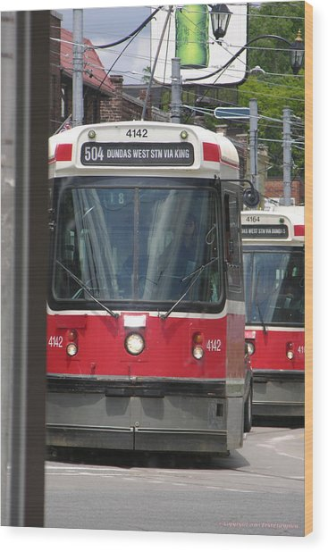 Wood Print featuring the photograph Streetcars 21379 by Brian Gryphon