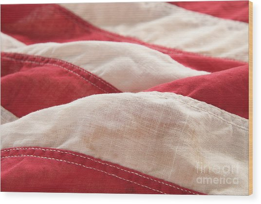 Stripes Of An Old American Flag Wood Print by Ruby Hummersmith