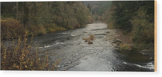 Suislaw River Panorama Wood Print by Mary Gaines