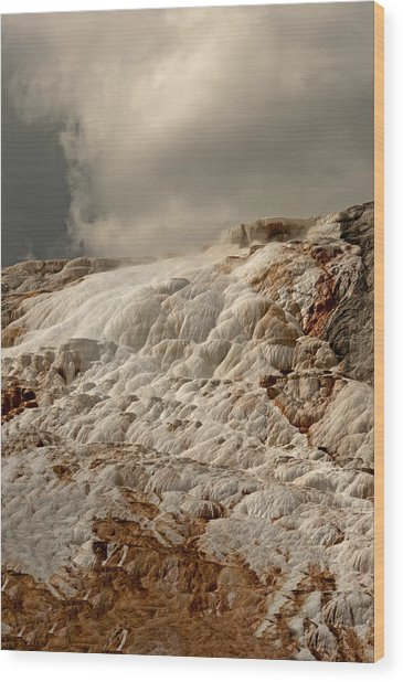 Sulfur Waterfall Wood Print by Eric  Nelson