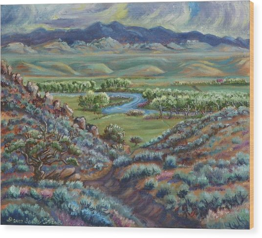 Summer Evening In The River Valley Wood Print