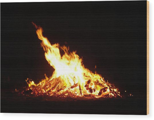 Summer Solstice Fire -- Sommersonnenwendfeuer Wood Print by Franziska Marie Orbach