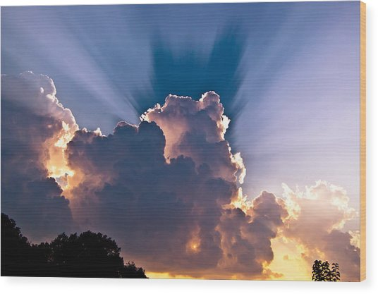 Sun Rays And Clouds Wood Print