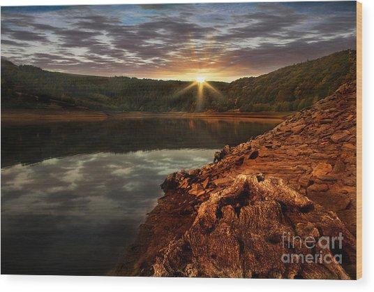 Sun Set Water Wood Print by Nigel Hatton